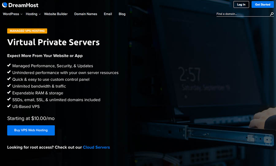 DreamHost VPS landing page
