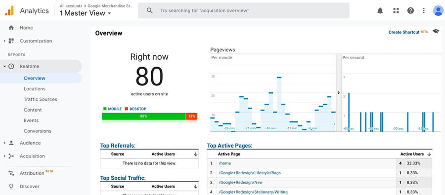 """""""The Google Analytics dashboard showing page view information."""""""