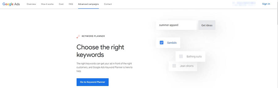The Google Keyword Planner home page.