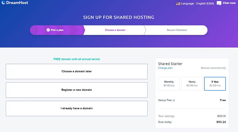 DreamHost's free domain with annual web hosting.