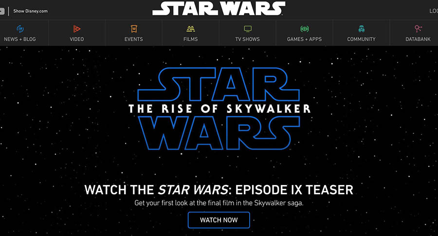 The StarWars.com homepage