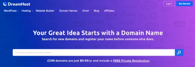 DreamHost domain name hosting.