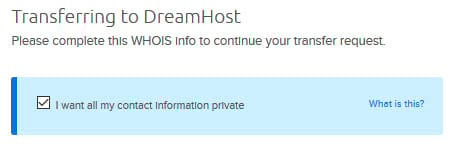Checkbox for making WHOIS contact info private