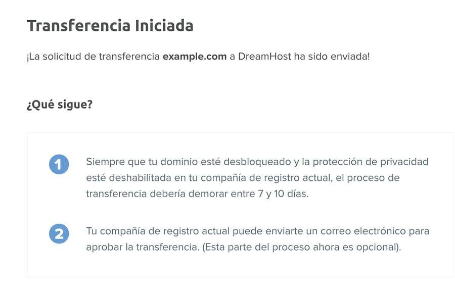 Notificación mostrando 'Transferencia iniciada' enviado y siguientes pasos.