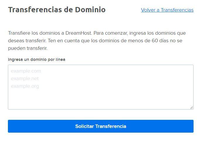 Solicitando una transferencia de dominio en el panel de DreamHost.
