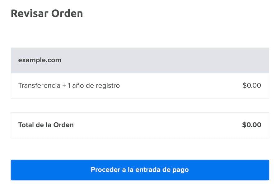 Revisando el total de la orden para example.com 'Transferencia + 1 año de registro'