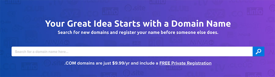 DreamHost's domain name registration page.