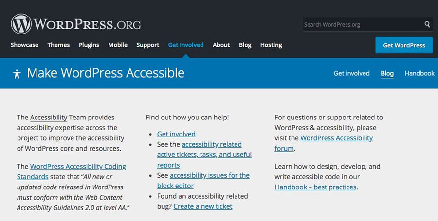 The WordPress Accessibility page.