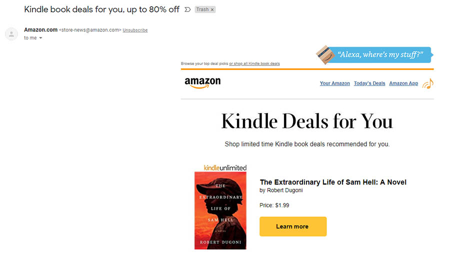 Amazon sends targeted email deals.