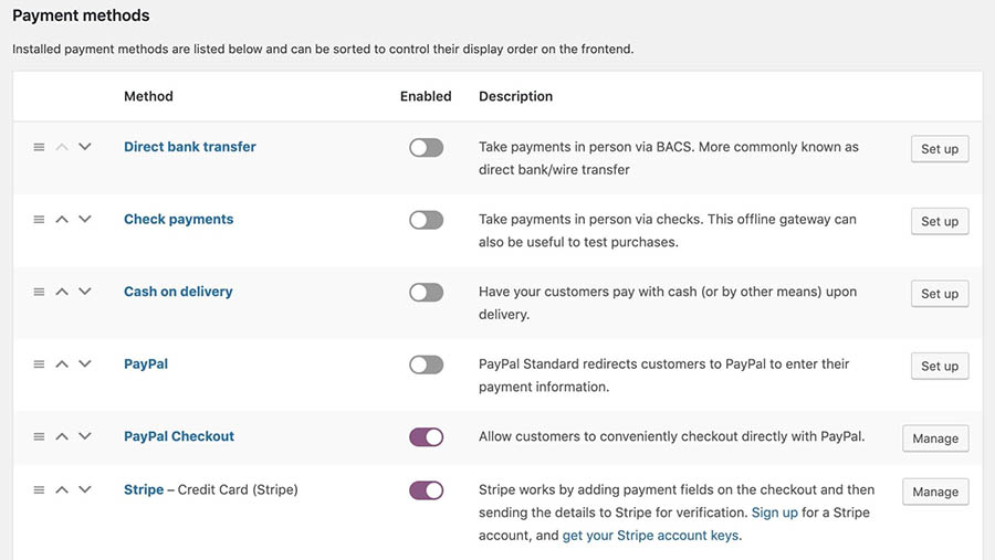 The Payment Methods settings in WooCommerce.