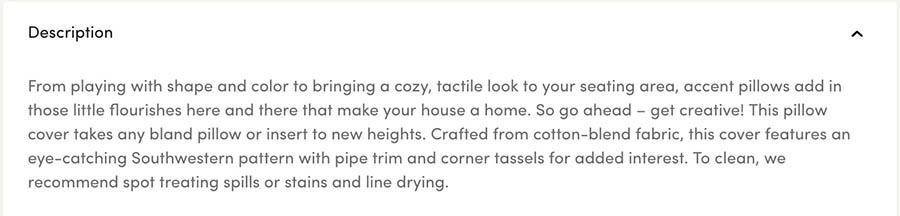 A product description for a throw pillow from Wayfair.