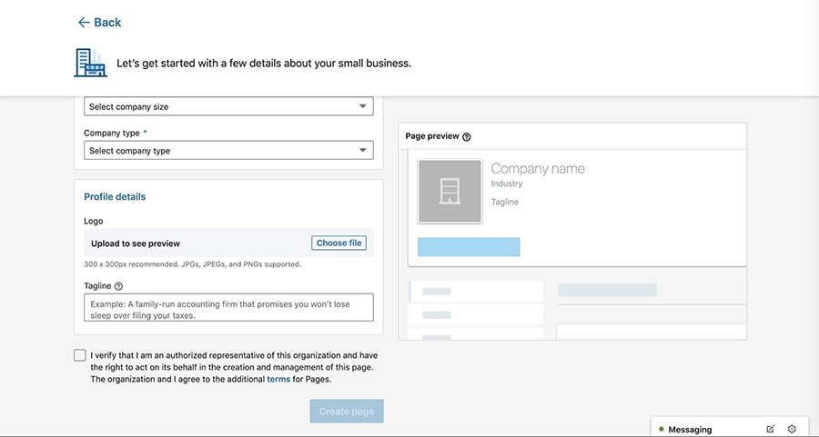 Adding a logo and tagline to a new LinkedIn company page.