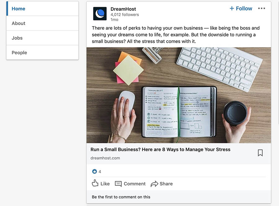 A blog post on the DreamHost LinkedIn company page.