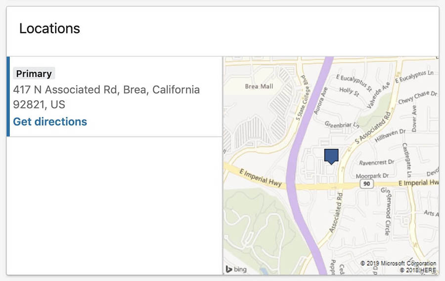 The Locations section of the DreamHost LinkedIn company page.
