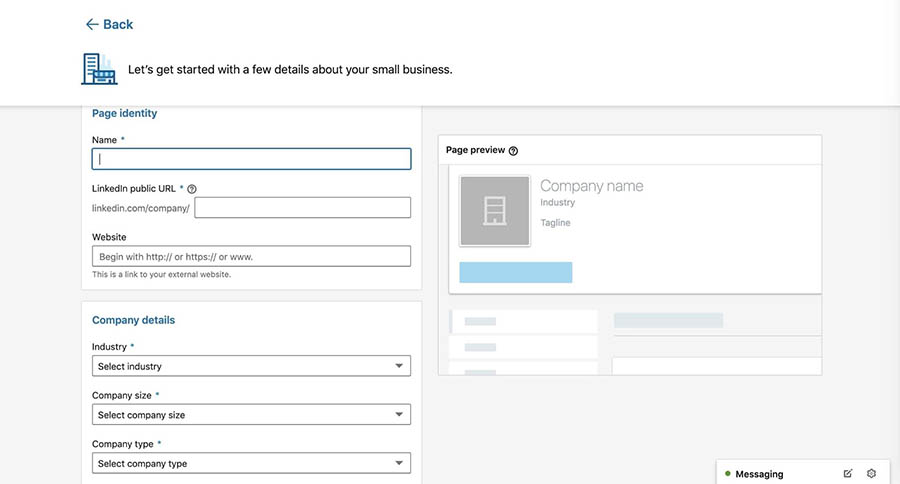 Adding company details to a new LinkedIn company page.
