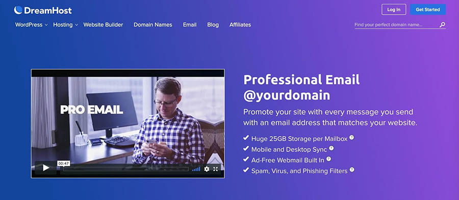 DreamHost's email services.