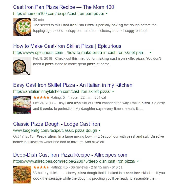 Some examples of cast iron pizza recipes.