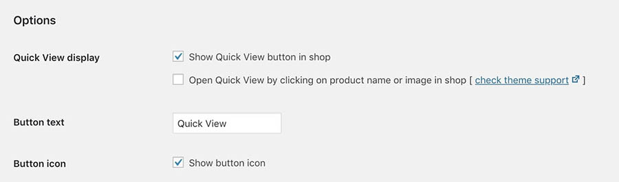 The quick view open settings.