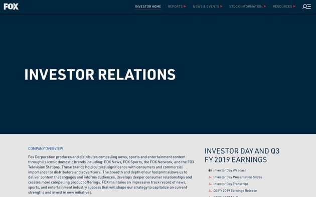 Screenshot of Fox.inc's investor relations website.