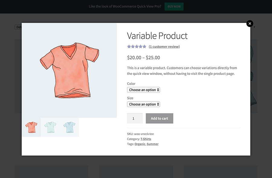 An example of a WooCommerce quick view popup.