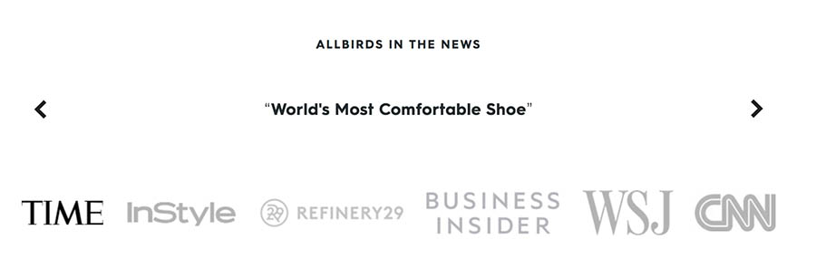 Allbirds' press testimonial quote.