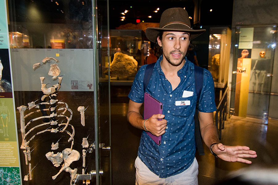 Tour guide Zak at the American Museum of Natural History.