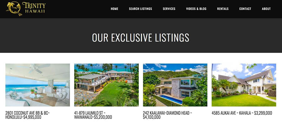 Trinity Hawaii exclusive listings page.