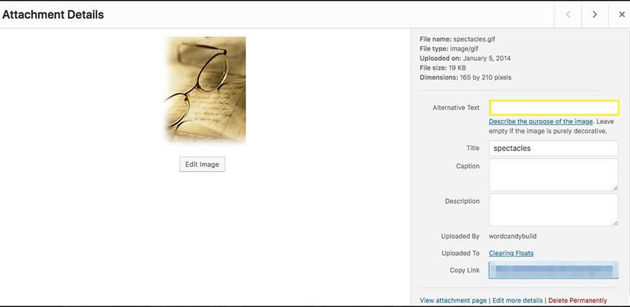 Wordpress' image edit panel.