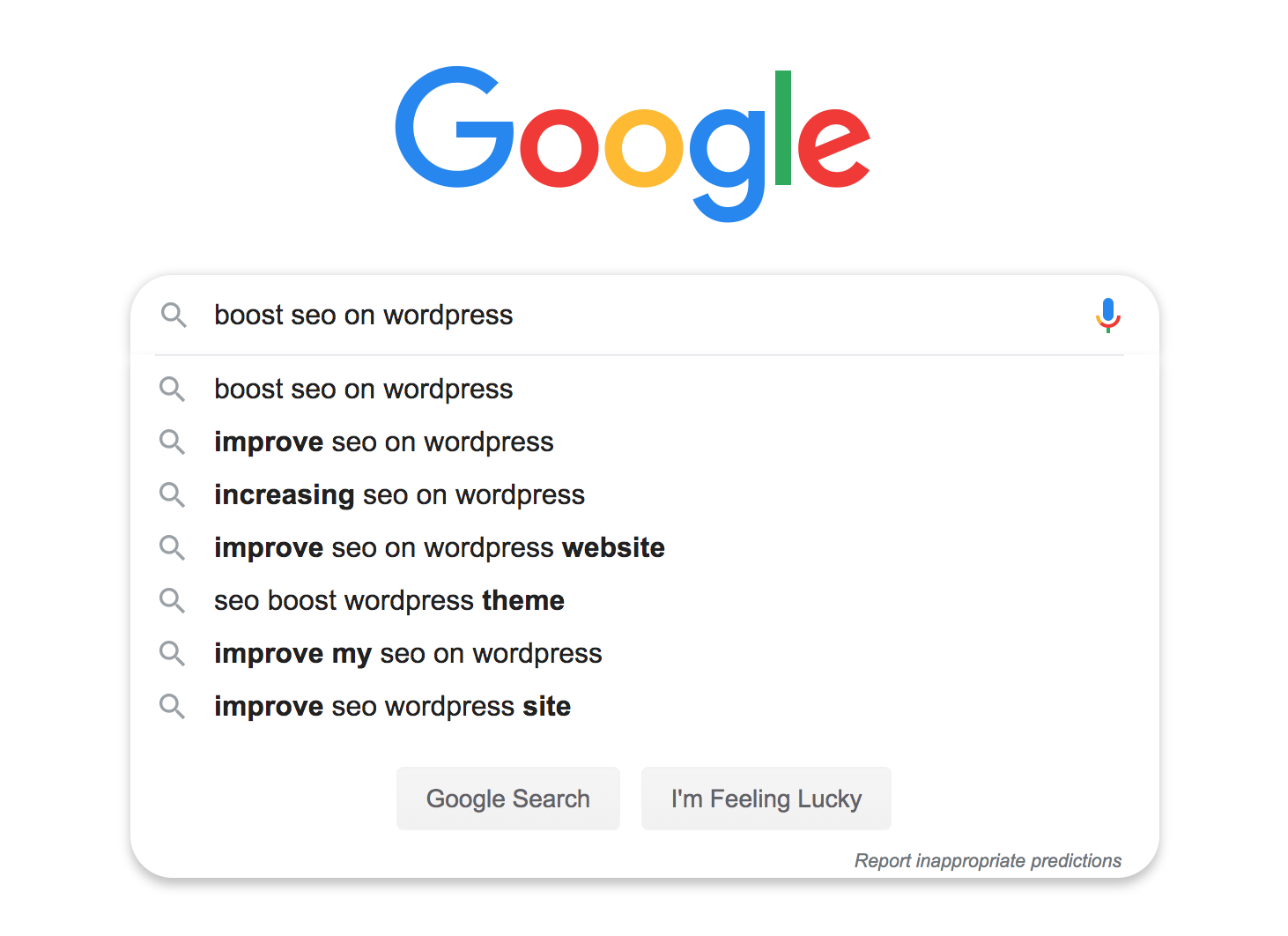 Keywords used in a Google search