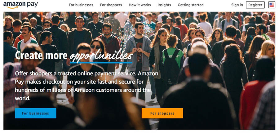 The Amazon Pay website.