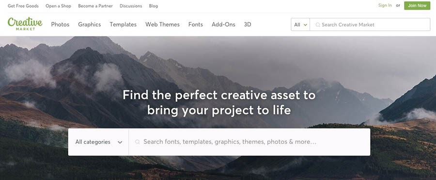 The Creative Market website.