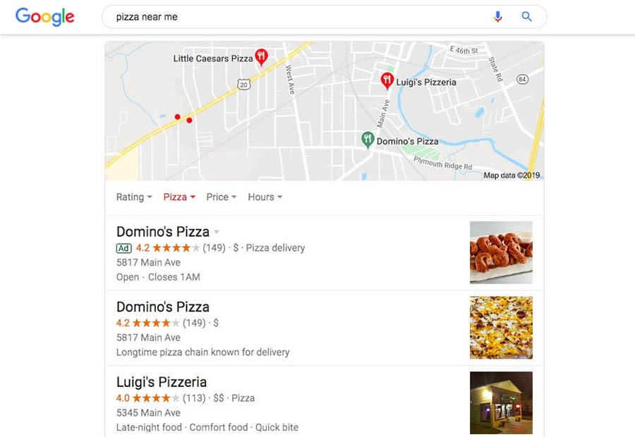 Three search results under a Google Map.