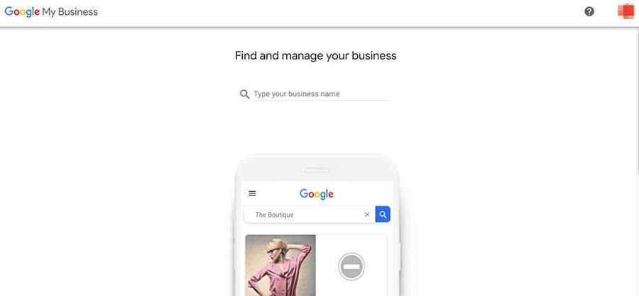 The Google My Business login page.