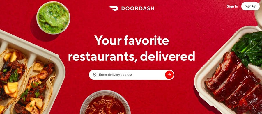 The DoorDash website.