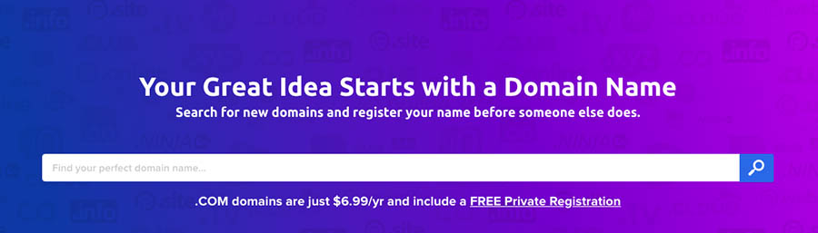 DreamHost's domain name search.