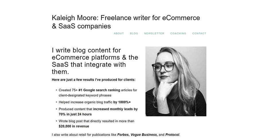 The website of freelance writer Kaleigh Moore.