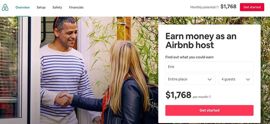 The Airbnb website.