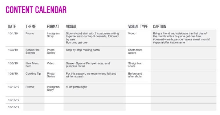 'Instagram's sample content calendar'.