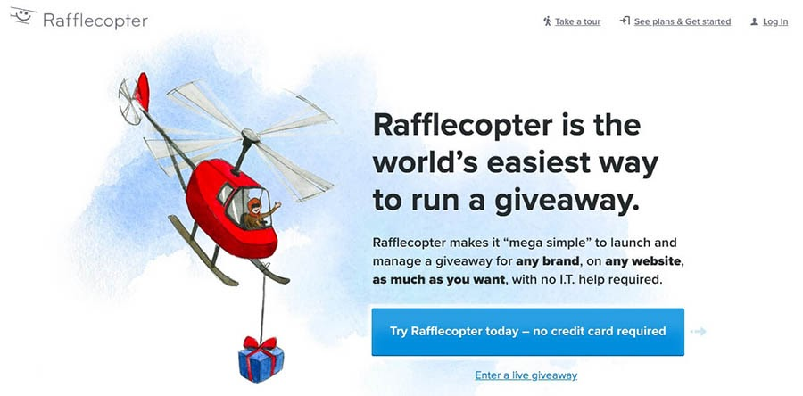 'The Rafflecopter giveaway app'.