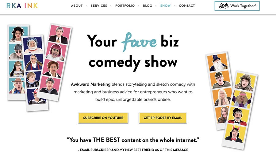 RKA Ink features business sketch comedy videos on her website.