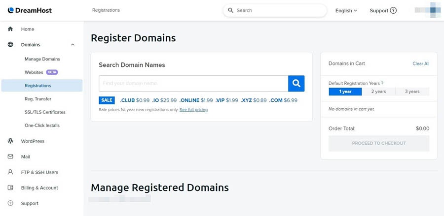 The Domain Registrations page of the DreamHost control panel.