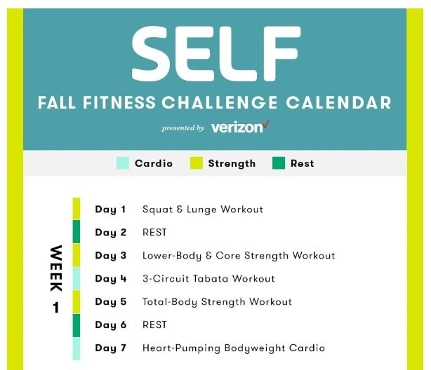 An example of a fitness calendar.