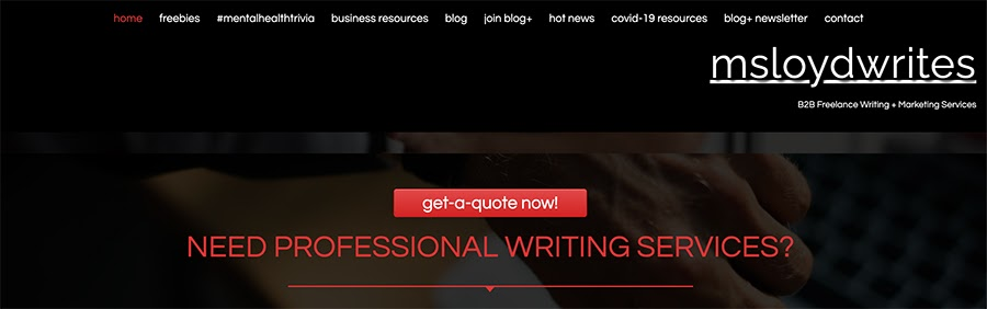 msloydwrites.com home page.