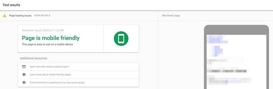 Ejemplo de un resultado de la herramienta de prueba de dispositivos móviles de Google.