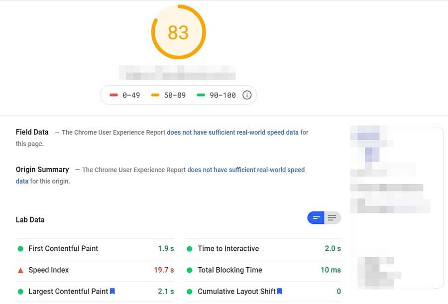Resultados de la página de PageSpeed de Google.
