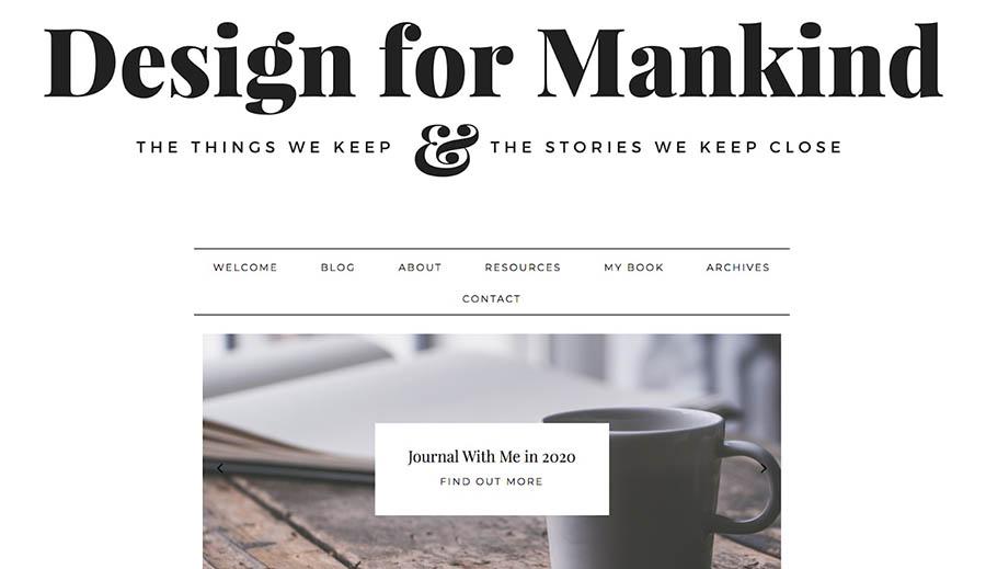 La página de inicio de Design for Mankind.