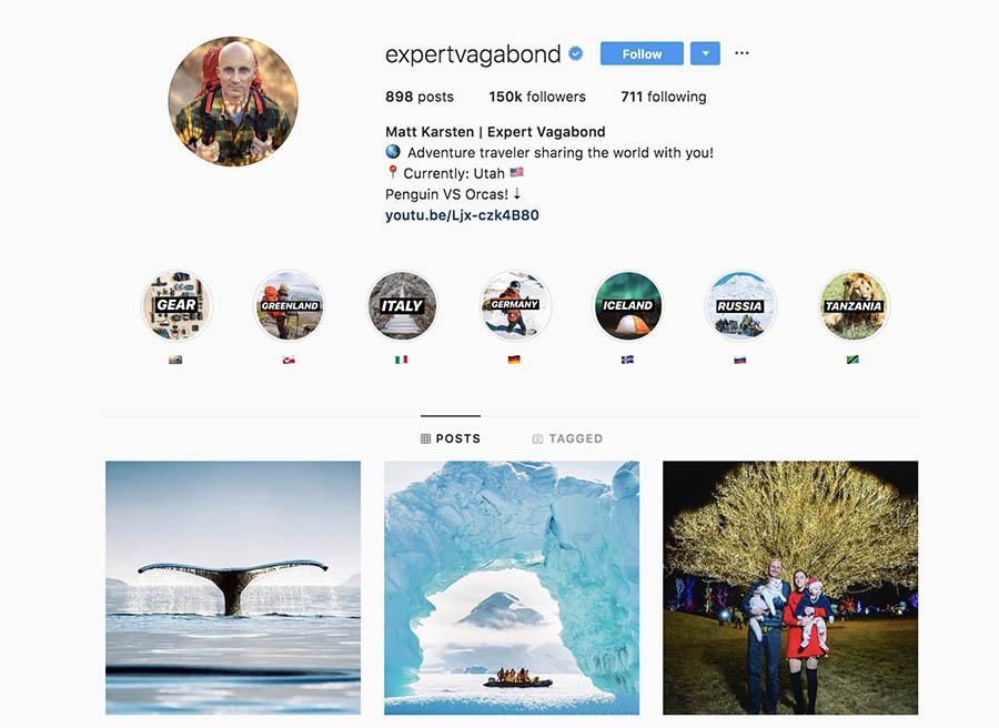 La página de instagram de Expert Vagabond