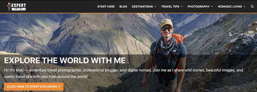 La página 'Sobre nosotros' de Expert Vagabond