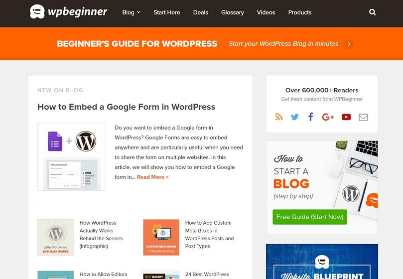 La página de inicio de WPBeginner