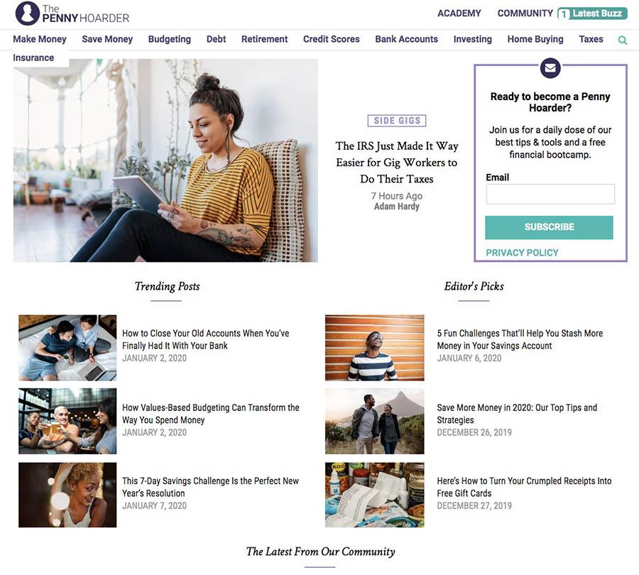 El sitio web de The Penny Hoarder